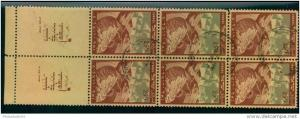 Nice block of 6 with full-tab (Michel No. 15)