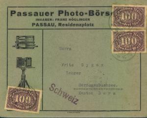 1923, PAASAUER PHOT-BÖRSE, Drucksache in die Schweiz
