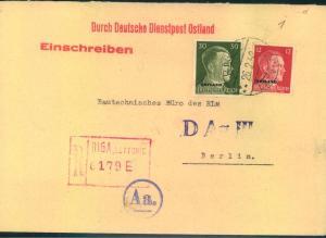 1942, Einschreiben RIGA mit Numerator R-Stempel an Reichsluftfahrtministerium in Berlin - Deutsche Dienstpost Ostland