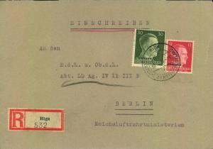 1942, Einschreiben ab RIGA an Reichsluftfahrtministerium in Berlin - Deutsche Dienstpost Ostland