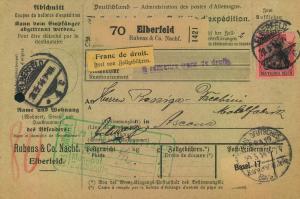 1914, Paketkarte ab ELBERFELD nach Ascona mit EF 80 Pfg. Germania Fridensdruck
