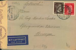 1943, seltene 22 Pfg. Frankatur auf Luftpost zum