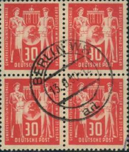 1949, 30 Pfg. Postgewerkschaft in fast zentrisch gestempelten (BERLIN W 8) Viererblock