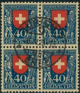 1922, 40 Rp Pro Juventute im Viererblock zentrisch gestempelt