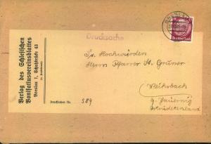 1940, 15 Pfg. Hindenburg als EF auf schwerer Drucksache ab BRESLAU - seltenere Einzelfrankatur
