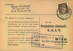 1943, Liebesgabenpaket-Bestätigung aus BAD GODESBERG nach Wien
