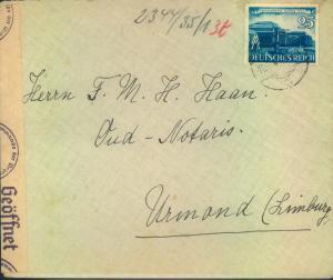 1941, 25 Pfg. Leipziger Messe als EF auf Auslandsbrief ab AACHEN nach Holland