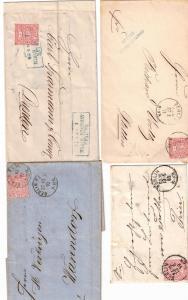 1868/1871, NDP, 7 Belege mit klassischen BERLIN-Stempeln