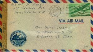 1944, censored airmail fro HONOLULU to Boston with cachet