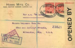 1916, registered letter with censor from London to Milwaukee.