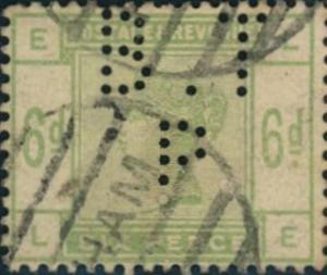 1883, 6 d dull green perfinned