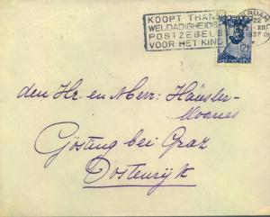 1935, envelope from AMSTERDAM to Austria franked with 12 1/2 C,