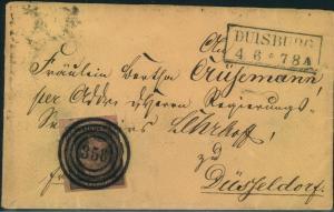 1851, 1 Sgr aus der rechten oberen Bogenecke mit zentrischem Nummernstempel