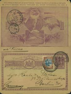 1898, beautiful card letter uprated sent from CHRISTCHURCH
