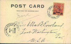 1904, 20 Para auf 10 Pfg. Germania dunkelrosarot geprüft Jäschke-L. BPP auf Karte JERUSALEM nach Washington.
