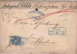 1866, Orts-Wertbrief mit 2 Gr. Wappen ab