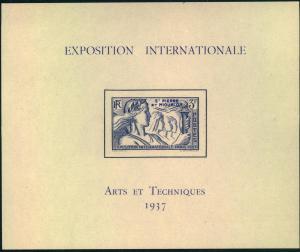 1937, Exposition Internationale ARTS ET TECHNIQUES, bloc, souvenir sheet - mnh