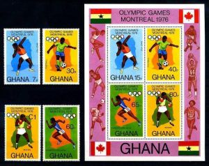 E17436)Olympia 76, Ghana 646/9 A** + Bl 65 A** 0