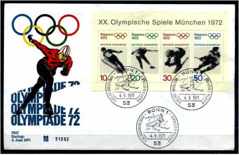 E07801)Olympia 72 Bund FDC Bl 6