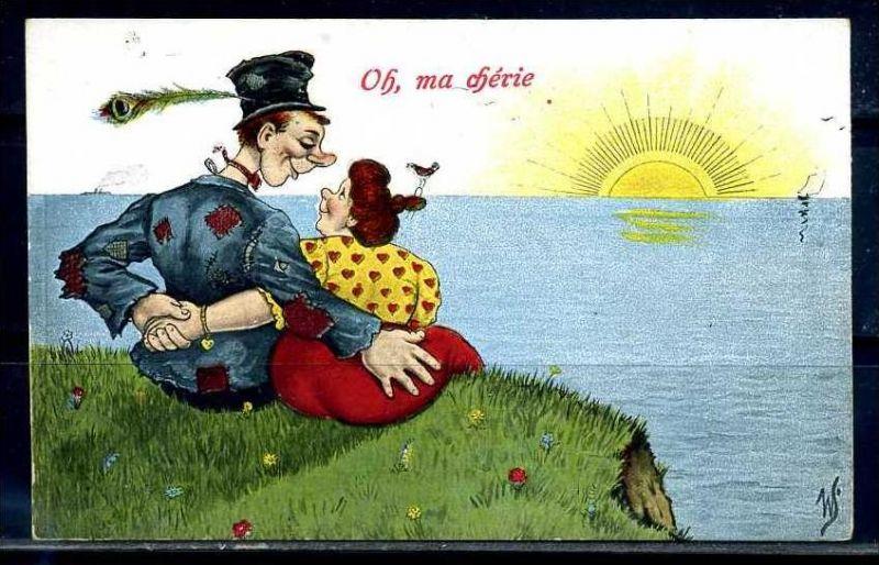 K10877)Ansichtskarte: Humorkarte Liebespaar