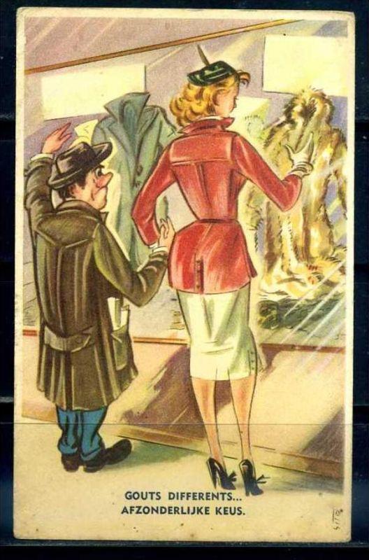 K10875)Ansichtskarte: Humorkarte Schaufensterbummel