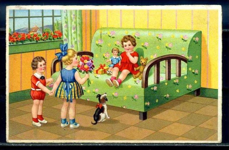 K10861)Ansichtskarte: Gruppe Kinder