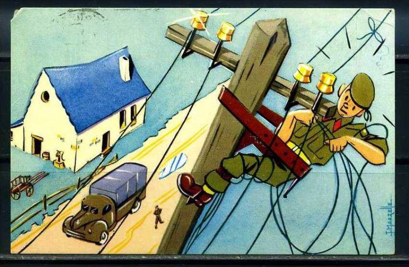 K10859)Ansichtskarte: Humorkarte Soldaten
