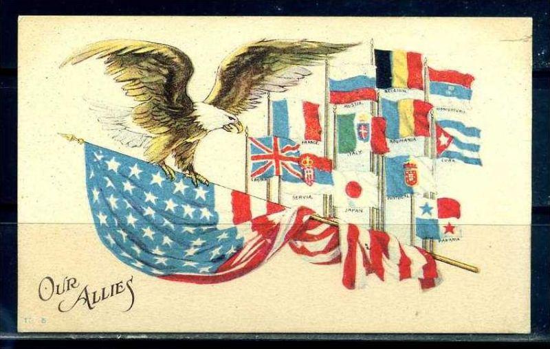 K10856)Ansichtskarte: WK I Flaggen der Allierten