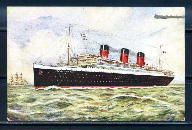 K10855)Ansichtskarte: Dampfer Ile de France