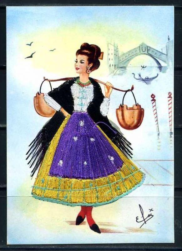 K10791)Ansichtskarte: Venedig, Trachten-Stickereikarte