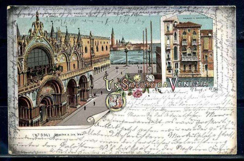 K10787)Ansichtskarte: Gruss aus Venedig 1898