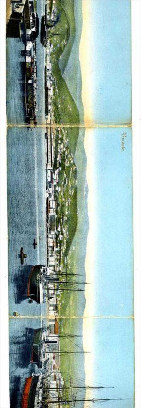 K10705)Ansichtskarte: Triest, Hafen - 3-fach-Panoramakarte