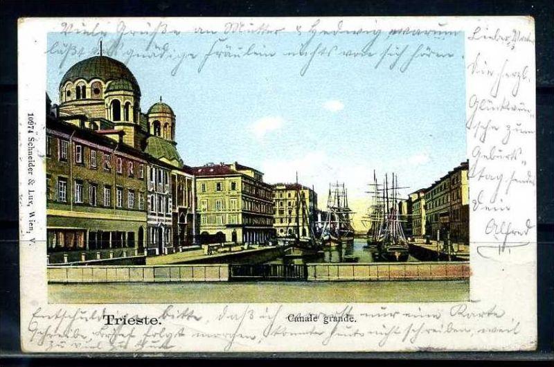 K10703)Ansichtskarte: Triest, Canale Grande + Synagoge