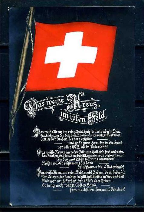 K9547)Ansichtskarte: Das Weisse Kreuz im Roten Feld