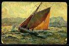 K2057)Ansichtskarte Gemäldekarte Segelschiff