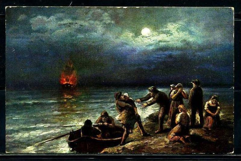 K2055)Ansichtskarte Gemäldekarte Segelschiff