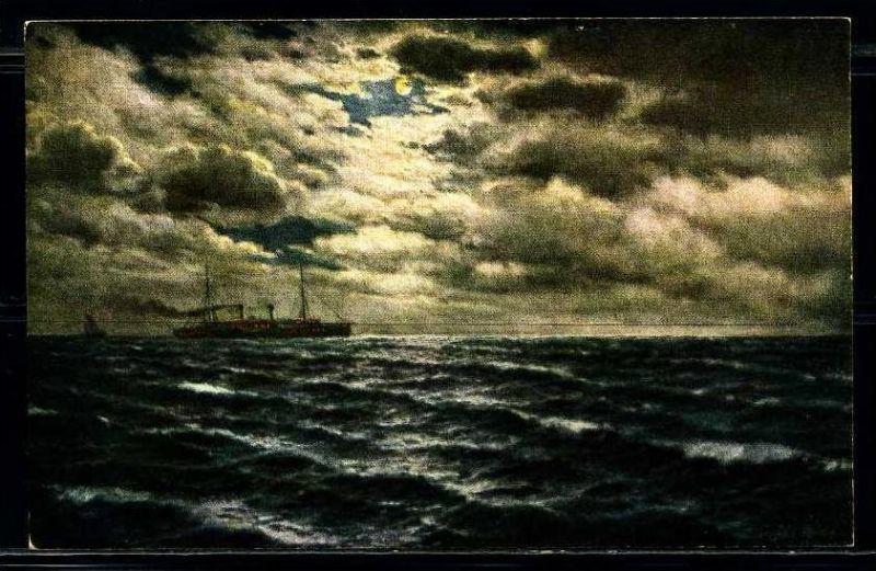 K2054)Ansichtskarte Gemäldekarte Passagierschiff