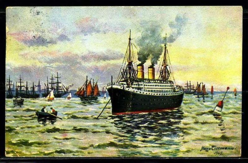 K2028)Ansichtskarte Passagierschiff von 1916