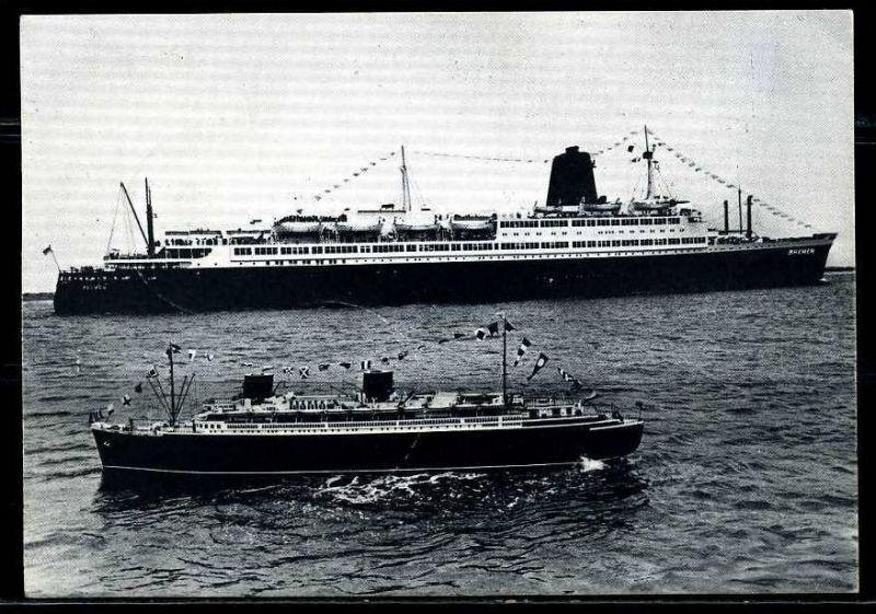 K2026)Ansichtskarte Passagierschiff TS Bremen und Modellschiff Bremen 4