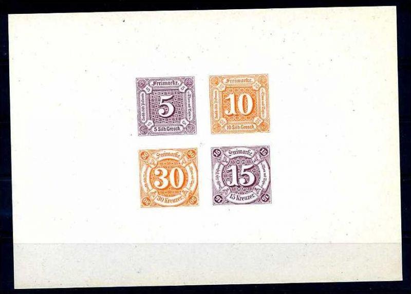 Z10717)Thurn & Taxis Neudruck-Kleinbogen von 1965, rückseitig nummeriert.