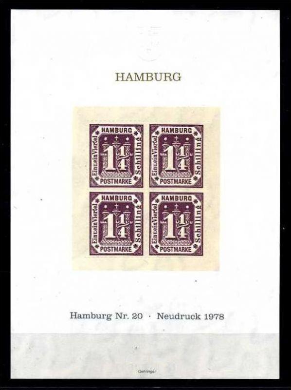 Z21640)Hamburg 20, Nachdruckblock von 1978