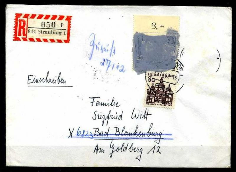 Z25852)Bund 479 Postkriegsbeleg