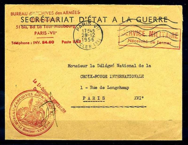 Z26810)Frankreich Armeepost interessanter Brief 1956