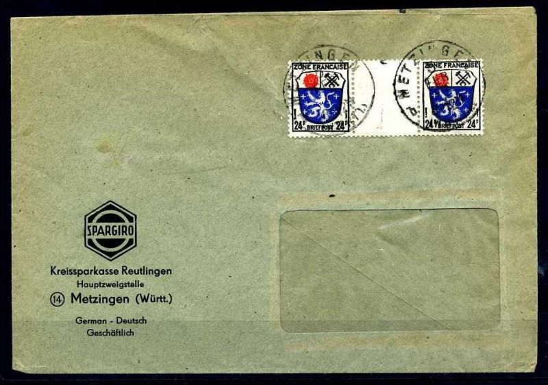 Z29085)Franz. Zone Allgemeine Ausgabe 9 ZW Brief