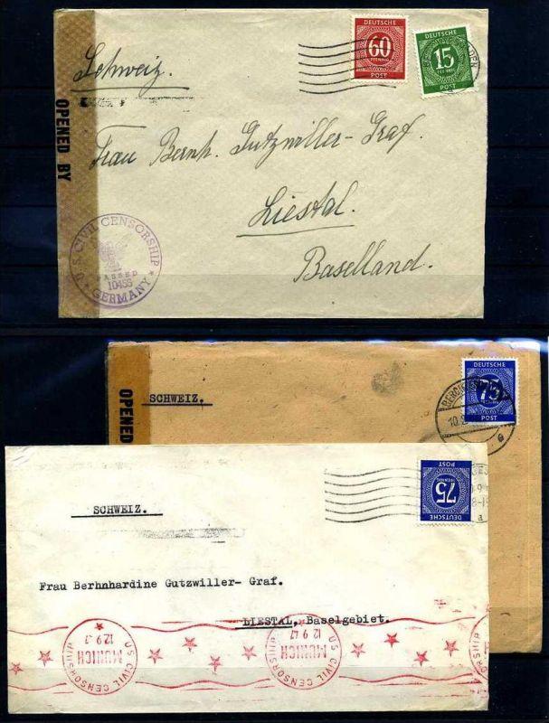 Z30885)Gemeinschaftsausgaben 3 Zensurbriefe in die Schweiz
