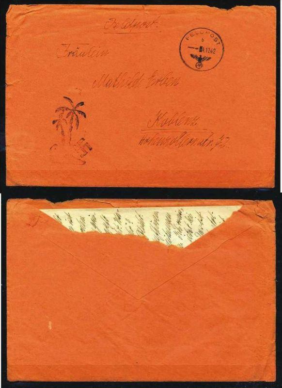 Z34667)DR Feldpostbrief mit Palmenstempel + Inhalt