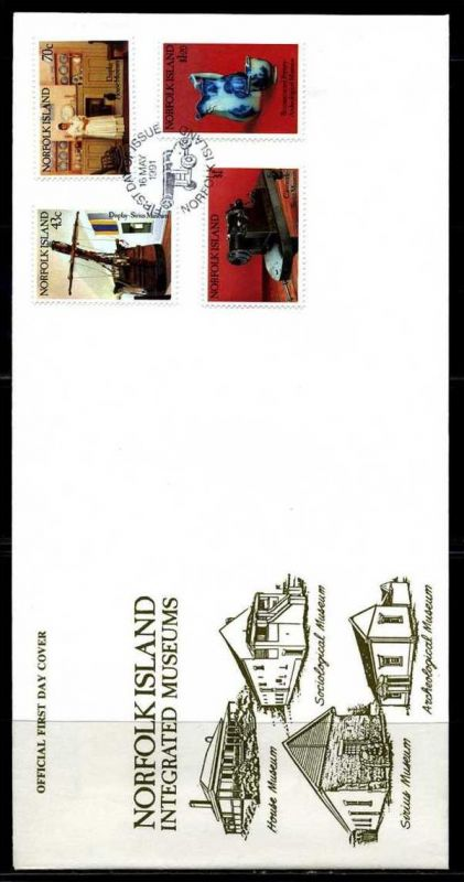 E01412)Norfolkinseln FDC 502/5 Museen