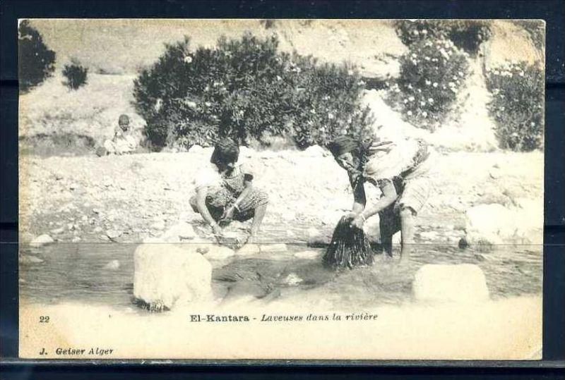 K11022)Ansichtskarte: El Kantara, Waschfrauen