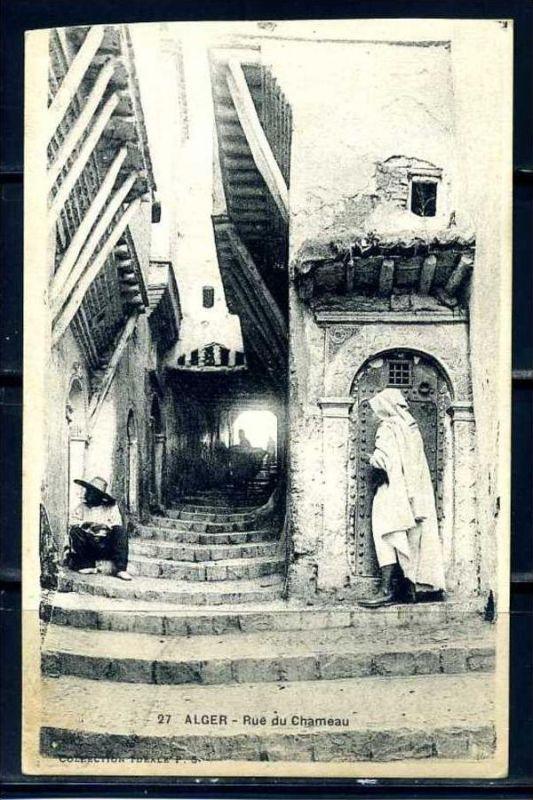 K11050)Ansichtskarte: Algier, Rue du Chaumeau