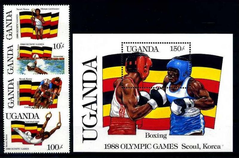 E19983)Olympia 88, Uganda 534/7** + Bl 70**